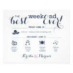 Wedding Weekend Itinerary Flyer<br><div class='desc'>Wedding Program Flyer featuring &quot;Infographic&quot; style timeline. Contact Seller before personalization for timeline icon adjustments or additions.</div>