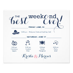 Wedding Weekend Itinerary Flyer at Zazzle