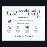 """Wedding Weekend Itinerary Flyer<br><div class=""""desc"""">Wedding Program Flyer featuring &quot;Infographic&quot; style timeline. Contact Seller before personalization for timeline icon adjustments or additions.</div>"""