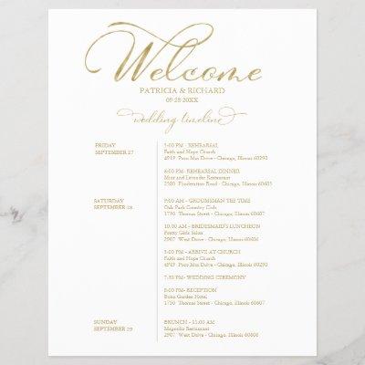 Wedding Weekend Itinerary Timeline Elegant