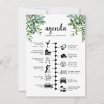 "Wedding weekend timeline and guest agenda advice card<br><div class=""desc"">A wedding timeline itinerary and welcome card with our lush greenery watercolor foliage. Using pictogram icons, let your guests know of your itinerary for the big day & ensure no one miss out on any of your agenda during the whole event. With a welcome message on the front these are...</div>"