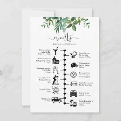 Wedding weekend timeline and guest itinerary advice card