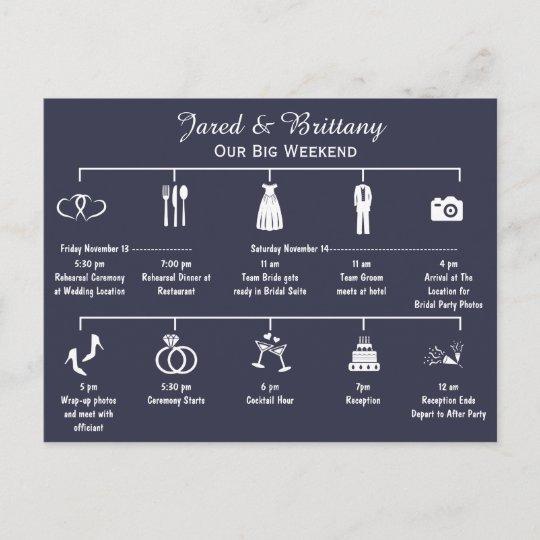 Wedding Invitation Timeline: Wedding Weekend Timeline Itinerary Invitation Postcard