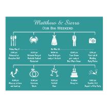 Wedding Weekend Timeline Itinerary Postcard