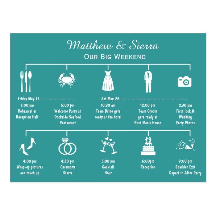 Wedding_weekend_timeline_itinerary_postcard 239982292515395683 on Wedding Timeline Template