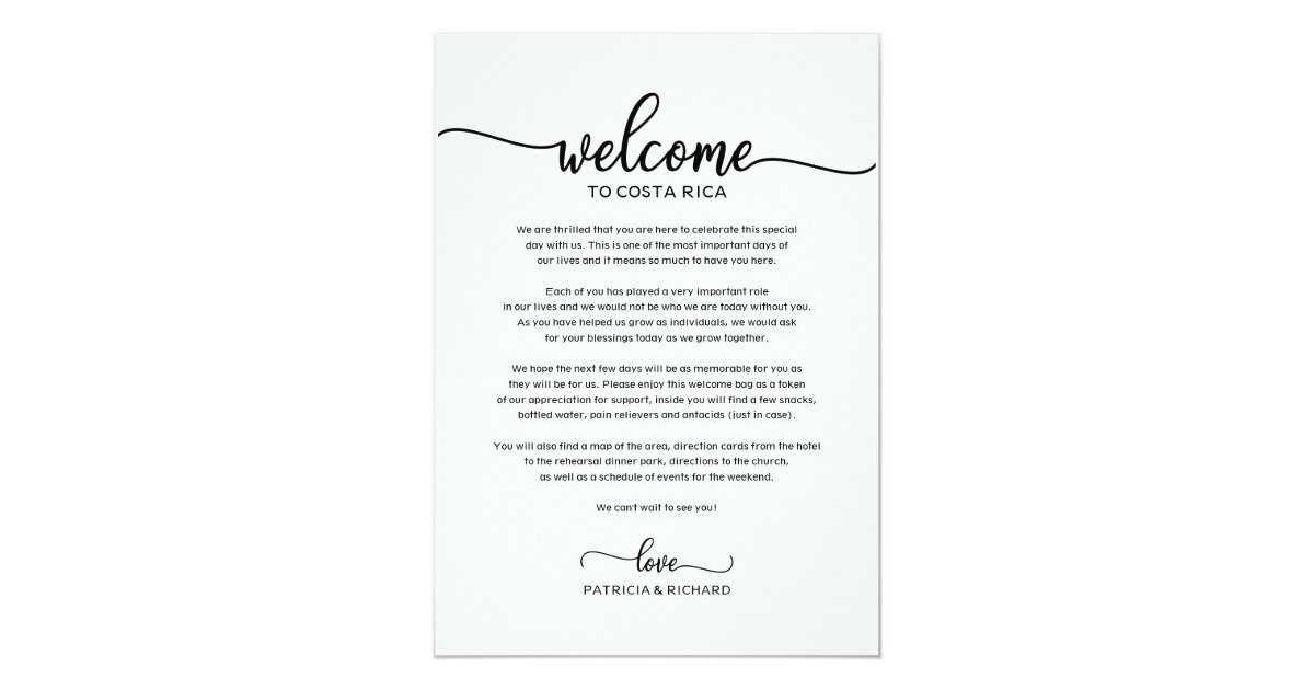 Wedding Weekend Welcome and Itinerary Letter Chic