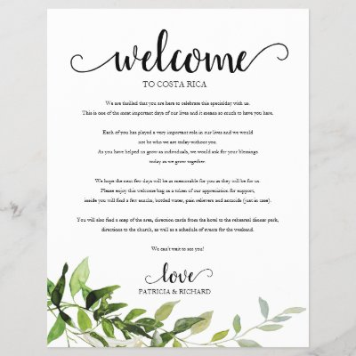 Wedding Weekend Welcome Itinerary Elegant Greenery