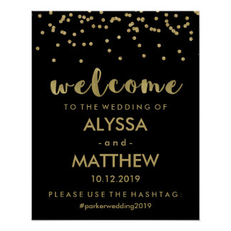 Wedding Welcome and Hashtag | Black and Gold Poster