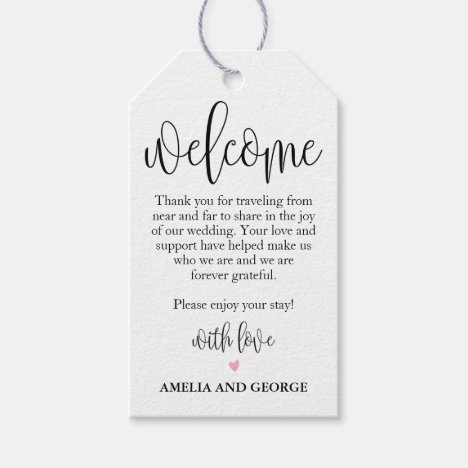 Wedding Welcome Bag Tags Lovely Calligraphy
