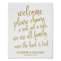 Wedding Welcome Choose a Seat Gold Glitter Sign