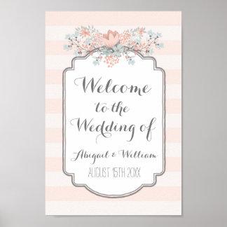 Wedding Welcome Custom Sign Vintage Floral Poster