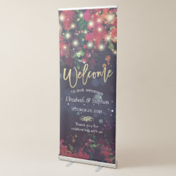 Wedding Welcome Floral String Lights & Gold Script Retractable Banner