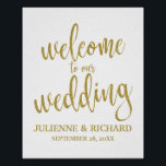 "Wedding Welcome Gold Glitter 8x10 Sign<br><div class=""desc"">An elegant cutting edge wedding sign,  features the text &quot;Welcome to our wedding&quot; in a extroverted script font,  the glitter texture adds a festive and glamorous touch. The background color can personalized according to your needs and preferences,  please contact me if you have any special request.</div>"