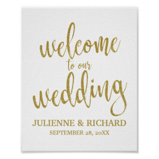 Welcome to our wedding sign posters zazzle wedding welcome gold glitter 8x10 sign junglespirit Choice Image