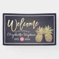 Wedding Welcome Golden Pineapple Couple Navy Blue Banner
