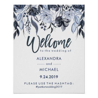 Wedding Welcome Hashtag | Dark Blue Floral Poster