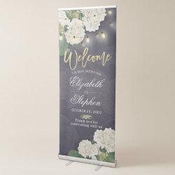 Wedding Welcome Hydrangea Flowers String Lights Retractable Banner