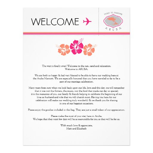 Wedding welcome letter template levelings wedding welcome letter for aruba letterhead zazzle pronofoot35fo Gallery