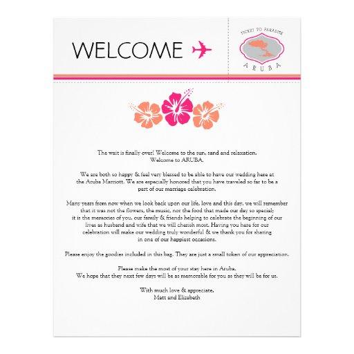 wedding welcome letter for aruba letterhead template zazzle. Black Bedroom Furniture Sets. Home Design Ideas
