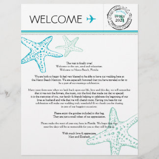 Wedding Welcome Letter for Florida
