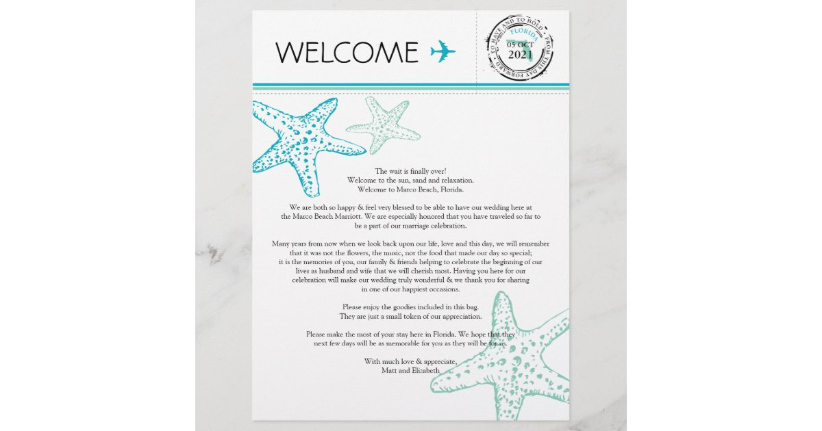 Wedding Welcome Letter For Florida Zazzle Com