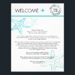 "Wedding Welcome Letter for Florida Letterhead<br><div class=""desc"">Have fun with your destination themed wedding. Florida Map Stamp with Wedding Date and 3 Whimsical Mint and Aqua Starfish. If the color scheme is not what you wanted please let me know and I&#39;ll recreate that for you. Please email paula@labellarue.com BEFORE ordering if you need design changes. Please make...</div>"