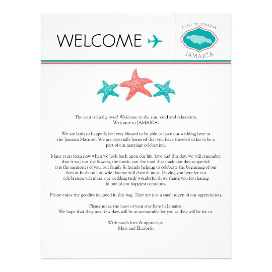 Wedding Welcome Letter for Jamaica Letterhead – Welcome Letter