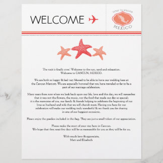 Wedding Welcome Letter for Mexico