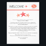 "Wedding Welcome Letter for Mexico Letterhead<br><div class=""desc"">Have fun with your destination themed wedding. Mexico Map with Three starfish in colors of Dark Coral and Papaya Coral. If the color scheme is not what you wanted please email paula@labellarue.com BEFORE ORDERING and I&#39;ll recreate that for you. Please make sure you proof your design before submitting your order....</div>"
