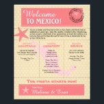 """Wedding Welcome Letter for Riviera Maya Mexico Flyer<br><div class=""""desc"""">Have fun with your destination themed wedding. Palm Tree, Starfish and Map of Mexico in colors of Colors are Light Pink, Dark Pink, Champagne and White. This if for Riviera Maya, Mexico and a heart is placed over the location on the Mexico map. Customize more text on the back if...</div>"""