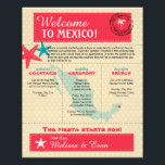 """Wedding Welcome Letter for Riviera Maya Mexico Flyer<br><div class=""""desc"""">Have fun with your destination themed wedding. Palm Tree, Starfish and Map of Mexico in colors of Colors are CORAL RED, TURQUOISE, Champagne and White. This if for Riviera Maya, Mexico and a heart is placed over the location on the Mexico map. Customize more text on the back if you...</div>"""