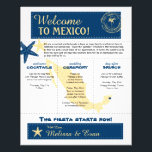 """Wedding Welcome Letter for Riviera Maya Mexico Flyer<br><div class=""""desc"""">Have fun with your destination themed wedding. Palm Tree, Starfish and Map of Mexico in colors of Colors are NAVY BLUE, YELLOW and White. This if for Riviera Maya, Mexico and a heart is placed over the location on the Mexico map. Customize more text on the back if you need...</div>"""