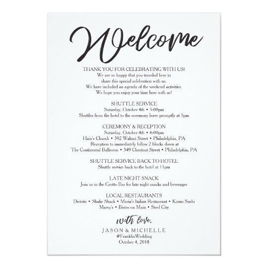 Wedding Welcome Letter Wedding Itinerary Cursive Invitation