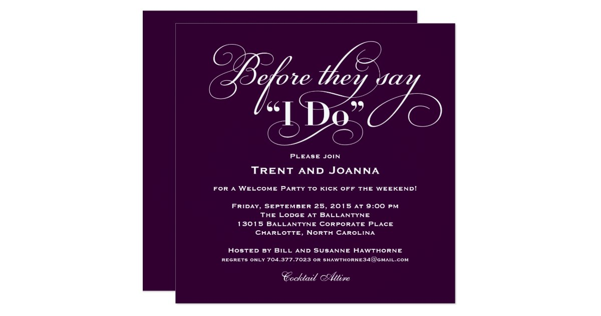 Wedding welcome party invitation wedding vows zazzle for Wedding engagement party invitations