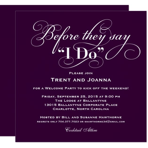 wedding welcome party invitation