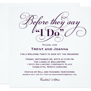 Wedding welcome party invitations announcements zazzle wedding welcome party invitation wedding vows stopboris Image collections