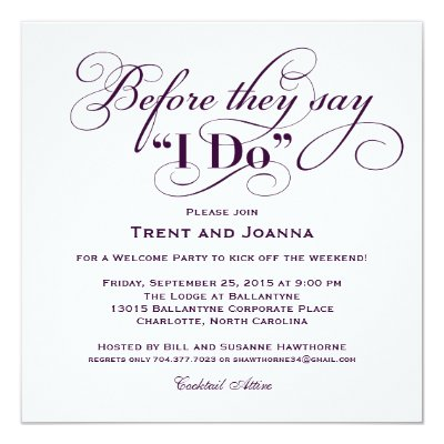 Wedding Welcome Party Invitation Wedding Vows – Welcome Party Invitation