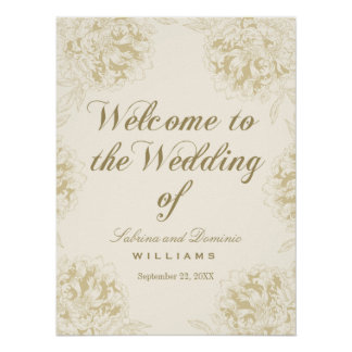 Wedding Welcome Poster | Floral Peony Design