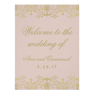 Wedding Welcome Poster | Gold Vintage Glamour at Zazzle