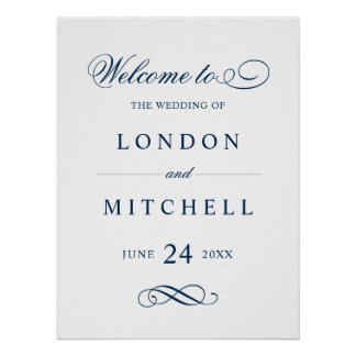 Wedding Welcome Sign | Classic Navy Elegance Poster