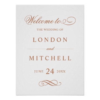 Wedding Welcome Sign | Copper Classic Elegance Poster