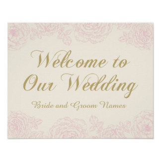 Wedding Welcome Sign | Floral Rose Design
