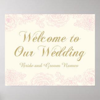 Wedding Welcome Sign | Floral Rose Design Poster