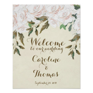 Wedding welcome sign poster elegant white floral
