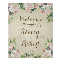 Wedding welcome sign vintage elegant floral