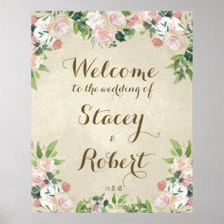 Wedding welcome sign vintage elegant floral