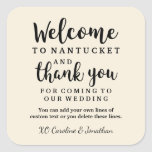 Wedding Welcome Thank You Hotel Custom Favor Bag Square Sticker at Zazzle