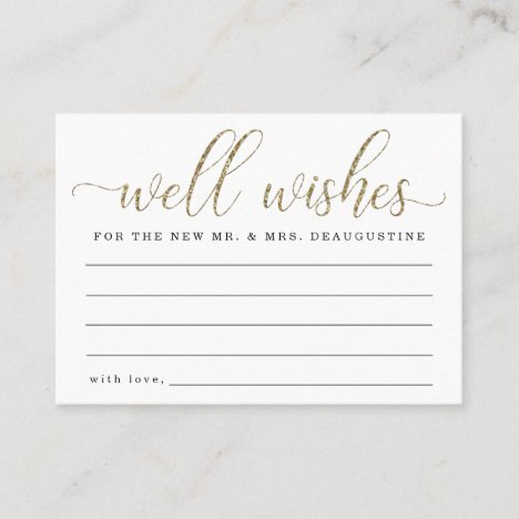 Wedding Well Wishes for the Mr & Mrs  Gold Glitter Calling Card