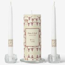 Wedding Western Bull Skull Brown Rustic Vintage Unity Candle Set