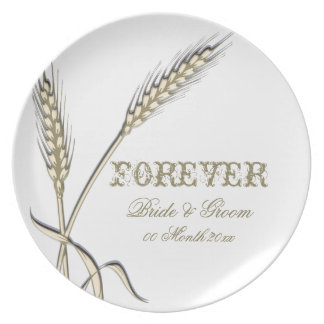 """Wedding wheat """"country collection"""" melamine plate"""